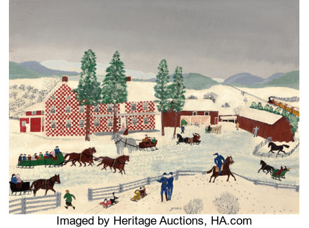 GRANDMA MOSES (American, 1860-1961)The Old Checkered House in Cambridge Valley, 1943Oil on masonite21-3/4 x 29-3/4...