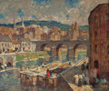 Paintings, ROBERT SPENCER (American, 1879-1931). A River Mill Town. Oil on canvas. 30 x 36 inches (76.2 x 91.4 cm). Signed lower le...