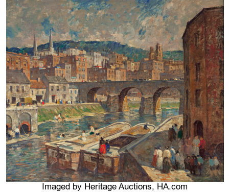 ROBERT SPENCER (American, 1879-1931)A River Mill TownOil on canvas30 x 36 inches (76.2 x 91.4 cm)Signed lower le...