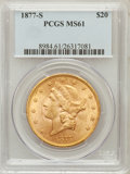 Liberty Double Eagles, 1877-S $20 MS61 PCGS....