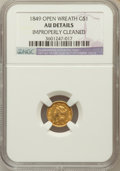 Gold Dollars: , 1849 G$1 Open Wreath -- Improperly Cleaned -- NGC Details. AU. NGCCensus: (6/1481). PCGS Population (21/1085). Mintage: 68...