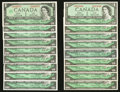 Canadian Currency: , A Large Lot of Eighteen $1 Canadian Notes.. ... (Total: 18 notes)