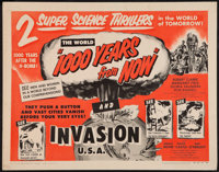 "1000 Years from Now/Invasion USA Combo (American Picture Co., R-1956). Half Sheet (22"" X 28""). Science Fiction..."