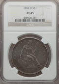 Seated Dollars: , 1859-O $1 XF45 NGC. NGC Census: (21/428). PCGS Population (70/584).Mintage: 360,000. Numismedia Wsl. Price for problem fre...