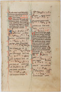 Books:Prints & Leaves, Antiphonal Manuscript Leaf on Vellum. [n.d., ca. 1500s]. Small leaffrom missal or antiphoner containing at least 18 bars of...