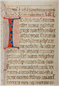 Books:Prints & Leaves, Trimmed Antiphonal Manuscript Leaf on Vellum. [n.d., ca. 1500s].Small leaf, possibly from missal or antiphoner, containing ...