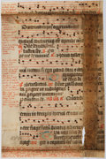 Books:Prints & Leaves, Antiphonal Manuscript Leaf on Vellum. [n.d., ca. 1500s]. Small leaffrom missal or antiphoner containing 10 bars of music on...