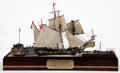 Maritime:Decorative Art, SHIP MODEL DIORAMA 'PIRATES TAKEN IN ACTION' . American Marine andShip Model Gallery, Salem MA. A thrilling scene of high s...