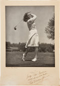 Golf Collectibles:Autographs, 1940's Babe Didrikson Zaharias Signed Large Photograph....