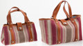 Luxury Accessories:Travel/Trunks, Heritage Vintage: Lambertson Truex Multi-Season Travel Setincluding Large Striped Canvas with Leather Kansas Tote Bag andMed... (Total: 2 Items)