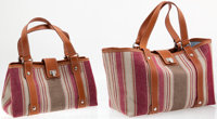 Heritage Vintage: Lambertson Truex Multi-Season Travel Set including Large Striped Canvas with Leather Kansas Tote Bag a...