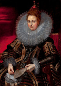 After PETER PAUL RUBENS (Flemish, 1577-1640) Portrait of Isabella Clara Eugenia Oil on panel 40 x