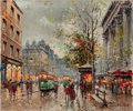 Fine Art - Painting, European:Other , ANTOINE BLANCHARD (French, 1910-1988). Marche au Fleurs de laMadeleine, Paris. Oil on canvas. 18-1/4 x 22 inches (46.4 ...