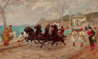ETTORE FORTI (Italian, 1850-1940) Parade Scene, Rome Oil on canvas 23 x 39 inches (58.4 x 99.1 cm