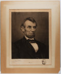Books:Prints & Leaves, Jacques Reich. Signed Etched Remarque Proof Portrait of AbrahamLincoln. 1905. Margins folded over board and taped. Exposed ...
