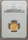Liberty Quarter Eagles: , 1853 $2 1/2 MS62 NGC. NGC Census: (289/247). PCGS Population(165/175). Mintage: 1,404,668. Numismedia Wsl. Price for probl...