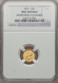 Gold Dollars: , 1851 G$1 -- Improperly Cleaned -- NGC Details. Unc. NGC Census:(88/3192). PCGS Population (74/1636). Mintage: 3,317,671. N...
