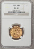Liberty Half Eagles: , 1901-S $5 MS62 NGC. NGC Census: (1934/2890). PCGS Population(1405/2572). Mintage: 3,648,000. Numismedia Wsl. Price for pro...
