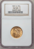 Liberty Half Eagles: , 1902-S $5 MS63 NGC. NGC Census: (497/683). PCGS Population(598/594). Mintage: 939,000. Numismedia Wsl. Price for problem f...