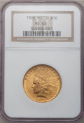 Indian Eagles: , 1908 $10 Motto MS62 NGC. NGC Census: (1347/745). PCGS Population(1337/1008). Mintage: 341,300. Numismedia Wsl. Price for p...