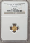California Fractional Gold: , 1871 50C Liberty Octagonal 50 Cents, BG-927, Low R.5, AU58 NGC. NGCCensus: (3/3). PCGS Population (5/27). (#10785)...