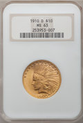 Indian Eagles: , 1910-D $10 MS63 NGC. NGC Census: (1882/1066). PCGS Population(2092/745). Mintage: 2,356,640. Numismedia Wsl. Price for pro...