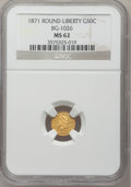 California Fractional Gold: , 1871 50C Liberty Round 50 Cents, BG-1026, Low R.4, MS62 NGC. NGCCensus: (4/0). PCGS Population (23/5). (#10855)...