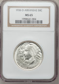 Commemorative Silver: , 1936-D 50C Arkansas MS65 NGC. NGC Census: (332/87). PCGS Population(415/217). Mintage: 9,660. Numismedia Wsl. Price for pr...