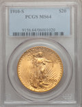 Saint-Gaudens Double Eagles: , 1910-S $20 MS64 PCGS. PCGS Population (1063/188). NGC Census:(545/75). Mintage: 2,128,250. Numismedia Wsl. Price for probl...