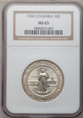 Commemorative Silver: , 1936 50C Columbia MS65 NGC. NGC Census: (593/579). PCGS Population(836/479). Mintage: 9,007. Numismedia Wsl. Price for pro...