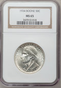 Commemorative Silver: , 1934 50C Boone MS65 NGC. NGC Census: (433/194). PCGS Population(585/248). Mintage: 10,007. Numismedia Wsl. Price for probl...