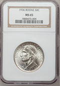 Commemorative Silver: , 1936 50C Boone MS65 NGC. NGC Census: (571/301). PCGS Population(733/377). Mintage: 12,012. Numismedia Wsl. Price for probl...