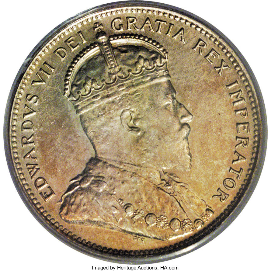 Canada: Edward VII 25 Cents 1906 Small Crown, Ex: Belzberg