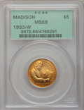 Modern Issues: , 1993-W G$5 Bill of Rights Gold Five Dollar MS69 PCGS. PCGSPopulation (1787/263). NGC Census: (489/822). Mintage: 23,266. N...
