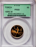 Modern Issues: , 1995-W G$5 Olympic/Torch Runner Gold Five Dollar PR68 Deep CameoPCGS. PCGS Population (44/2546). NGC Census: (0/11). Numi...