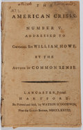 Books:Americana & American History, [Thomas Paine]. The American Crisis. Number V. Watson &Goodwin, 1778. Second edition. Disbound. Some wear soili...