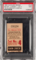 Baseball Collectibles:Tickets, 1960 Ted Williams 500th Home Run Ticket Stub, PSA Good 2....