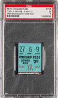 Baseball Collectibles:Tickets, 1970 Ernie Banks 500th Home Run Ticket Stub, PSA EX 5....
