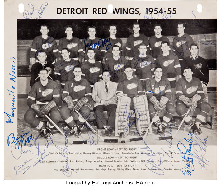 online store d92fc 470c1 1954-55 Detroit Red Wings Team Signed Photograph - Stanley ...
