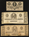 Confederate Notes:1864 Issues, T71 $1 1864 Two Examples;. T72 50¢ 1864.. ... (Total: 3 notes)