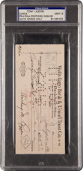 Autographs:Checks, 1943 Tony Lazzeri Signed Check, PSA/DNA Mint 9....