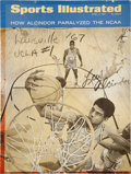 "Basketball Collectibles:Photos, 1967 Lew Alcindor (Kareem Abdul-Jabbar) Signed ""SportsIllustrated"" Magazine Cover...."