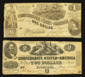 Confederate Notes:1862 Issues, T42 $2 1862 PF-5 Cr. 337;. T44 $1 1862 PF-3 Cr. 341.. ... (Total: 2notes)