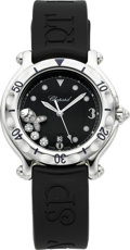 Estate Jewelry:Watches, Chopard Lady's Diamond, Stainless Steel, Rubber Strap Happy SportCalendar Wristwatch. ...
