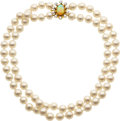 Estate Jewelry:Necklaces, Cultured Pearl, Opal, Diamond, Gold Necklace. ...