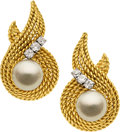 Estate Jewelry:Earrings, Cultured Pearl, Diamond, Gold Earrings, Laykin. ...