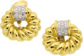 Estate Jewelry:Earrings, Diamond, Gold, Platinum Earrings, David Webb. ...