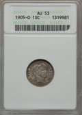 Barber Dimes: , 1905-O 10C AU53 ANACS. NGC Census: (3/134). PCGS Population(7/133). Mintage: 3,400,000. Numismedia Wsl. Price for problem ...