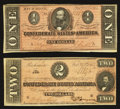 Confederate Notes:1864 Issues, T70 $2 1864;. T71 $1 1864.. ... (Total: 2 notes)