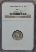 Seated Dimes: , 1856 10C Small Date AU53 NGC. NGC Census: (5/161). PCGS Population(4/118). Mintage: 5,780,000. Numismedia Wsl. Price for p...